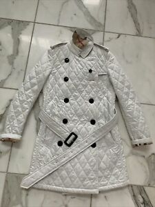 Burberry quilted trench coat nova check jacket belted White size UK 8 US 6