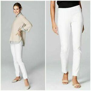 NWT $89 J.Jill Women's Sz 10 Petite Essential Cotton-Stretch Ankle Pant White