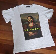 ASOS Men's Bershka white Crew Neck mona lisa T-shirt  Black Size XS supreme nwot