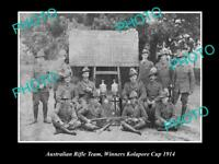 OLD POSTCARD SIZE PHOTO OF THE AUSTRALIAN MILITARY RIFLE TEAM CUP WINNERS 1914