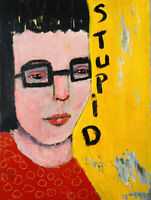 Outsider Art Original Portrait Painting Stupid Haircut Katie Jeanne Wood