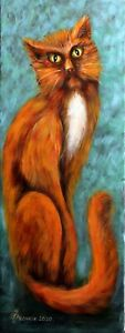 """ORIGINAL Painting oil canvas 32""""x12"""" CONTEMPORARY ART by Pronkin 2020  CAT redh."""