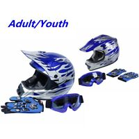 Adult/Youth DOT ATV Motocross Helmet w/ Gloves Goggles Blue Silver Flame M L XL