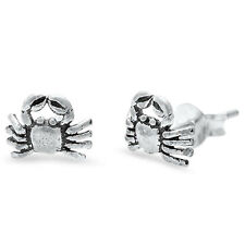 Cute Antique Crab Stud 925 Sterling Silver Post Earrings