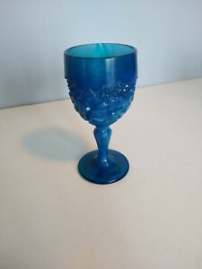 Vintage BOYD Glass BLUE SLAG Daisy & Button Cordial Wine Goblet Mint  Signed