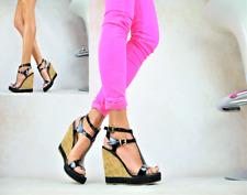 Damenschuhe Sexy Sandalen Plateau LACK High Heels Keilabsatz Party Pumps Schwarz