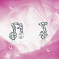 925 Sterling Silver CZ Stud Screw Back Baby Kids Musical Note Earrings Safe Cute