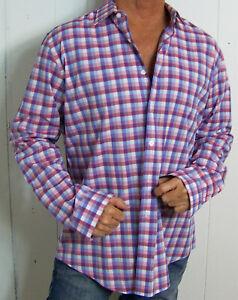 mens - EXPRESS shirt - XL - MODERN FIT - CHECK - Pink - Blue - White - Cotton