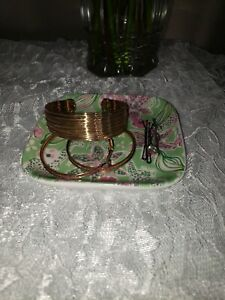"""4.5""""Jewlery/ring Tray/plate pagota chic. Green and pink floral/tropical giraffe"""