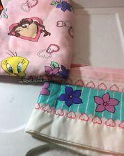 Looney Tunes 2 Pc.Twin Pillowcase, Flat Sheet Pink Tweedy Bird Vintage