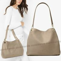 NWT 🌼 Michael Kors Raven Large Shoulder Leather Tote Truffle Beige / Gold