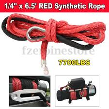 6MMx2M RED Synthetic Winch Line Cable Rope W/ Hook Sheath SUV ATV Vehicle 7000Lb