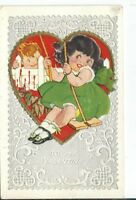 CH-068 To My Valentine, Little Girl on Swing Boy Watching Divided Back Postcard