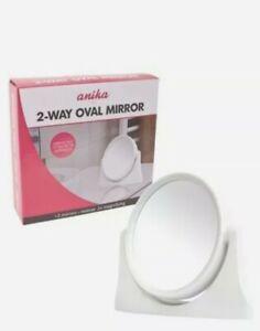 Anika White Small 2-Way Oval Mirror Magnifying Bathroom Shaving Make up Beauty