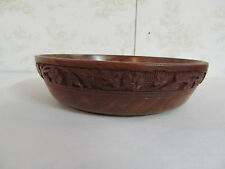 """Large Wooden Bowl Made in India 8"""" Round 2"""" Tall with Intricate Carvings"""