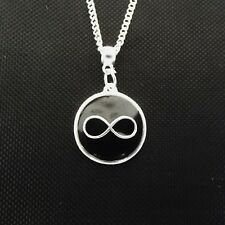 1 x Infinity 18 Inch Silver Plated Necklace Pendant  - Black Enamel Charm