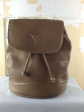 Vtg 90s GUESS browntriangle backpack purse pebble drawstring