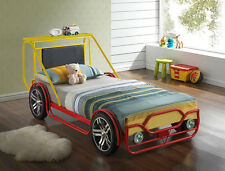 New Single 3ft Kids Childrens Car bed frame Jeep Metal & Wood Red & Yellow