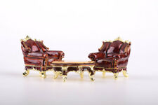 Faberge Table & Sofa trinket box hand made by Keren Kopal with Austrian crystals