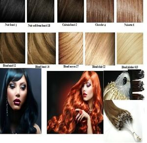 50 100 200 EXTENSIONS FROID EASY LOOP CHEVEUX NATURELS LOOPS REMY 49-60CM 0.6-1G