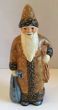 VAILLANCOURT FOLK ART SANTA, BROWN FATHER CHRISTMAS WITH BLUE SACK VFA #2004-39