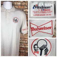 Vintage 80s Budweiser Beer Golf Polo Shirt UNCF Stedman 50/50 Large Embroidered