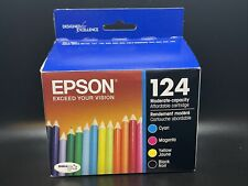 Epson GENUINE 124 Black & Color Ink 4 Pack NEW SEALED RETAIL BOX  Exp 12/2023
