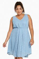 Nwt Torrid Plus Size 18W 2X Blue Textured Chiffon V-Neck Dress (E15)