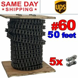 #60 Roller Chain x 50 feet + 5 Connecting Link + Same Day Expedited Shipping
