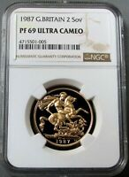 1987 GOLD GREAT BRITAIN 2 POUNDS SOVEREIGN COIN NGC PROOF 69 ULTRA CAMEO