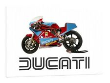 DUCATI 750 F1 Desmo 30x20 pulgadas lienzo enmarcado cuadro bicicleta clásico impreso