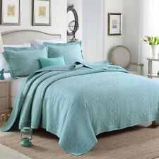 Solid Patchwork Quilted Coverlets Queen/King Size Bedspreads Set Throw Blanket