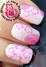 NAIL ART WRAP WATER TRANSFER DECALS STICKERS PINK WHITE FLORAL LACE FLOWERS #151