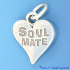 """""""SOUL MATE"""" HEART LOVE FRIENDSHIP .925 Solid Sterling Silver Charm"""