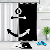 Black White Nautical Anchor Shower Curtain Set Bathroom Mat Waterproof Polyester