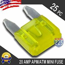 25 Pack 20A AMP Mini Blade Style Fuses APM/ATM Short Circuit Protection Car Fuse