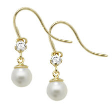 Contemporary 9ct Carat White/Yellow Gold Ladies Drop Earrings
