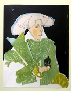 N. D. CLOUTIER MODERNIST SIGNED ART COLLAGE 'WOMAN IN GREEN,' ORIG BRASS FRAME