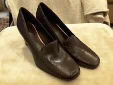 "Rockport Womens leather Brown Wedge Loafer Shoe - Size 10M 3"" new without box"
