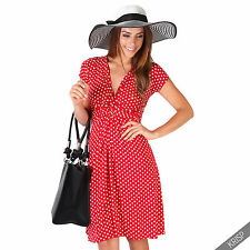 Womens Polka Dot Print Twist Knot Front V Neck Mini Swing Dress Party Summer Red (cap Sleeve) 16