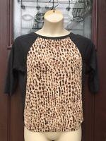 Ann Taylor Loft Animal Print Top Blouse Shirt XS Gray Leopard Raglan 1/2 Sleeve