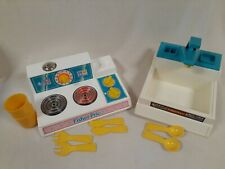 Vintage Fisher Price Fun With Food Kitchen Lot Sink Stove Dishes EUC