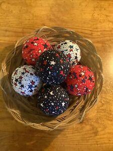6 Patriotic Stars Rag Balls, Farmhouse Tiered Tray Decor, Bowl Fillers, New