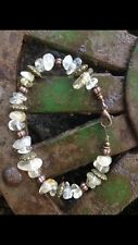 Women's 7 1/2-inch Citrine Chip And Bronze Beaded Bracelet W/Lobster Clasp #12