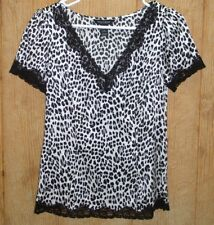 White House Black Market Animal Print Top ~ Black White ~ Size 6