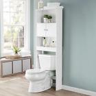 Wooden Over the Toilet Bathroom Storage with 3 Fixed Shelves Double Door Cabinet