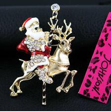 Betsey Johnson Lovely Santa Claus Deer Rhinestone Christmas Gift Brooch Pin