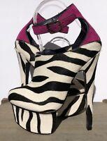 London Trash Wynne Zebra Pony Hair Platform Heel Shoe Size 6.5 NEW