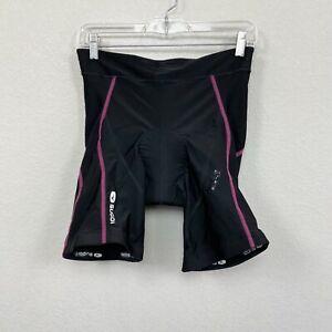 Sugoi Black Padded Bike Bicycle Cycling Shorts Pink Stitching Womens size Large