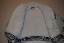 vtg Levi's Levis Sherpa Shearling Denim Coat Jacket EXTRA SMALL XS Made in Usa